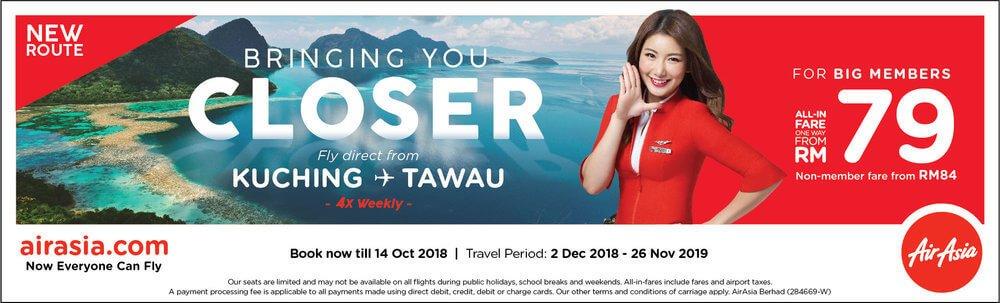 AirAsia Lancarkan Penerbangan Terus Dari Kuching ke Tawau