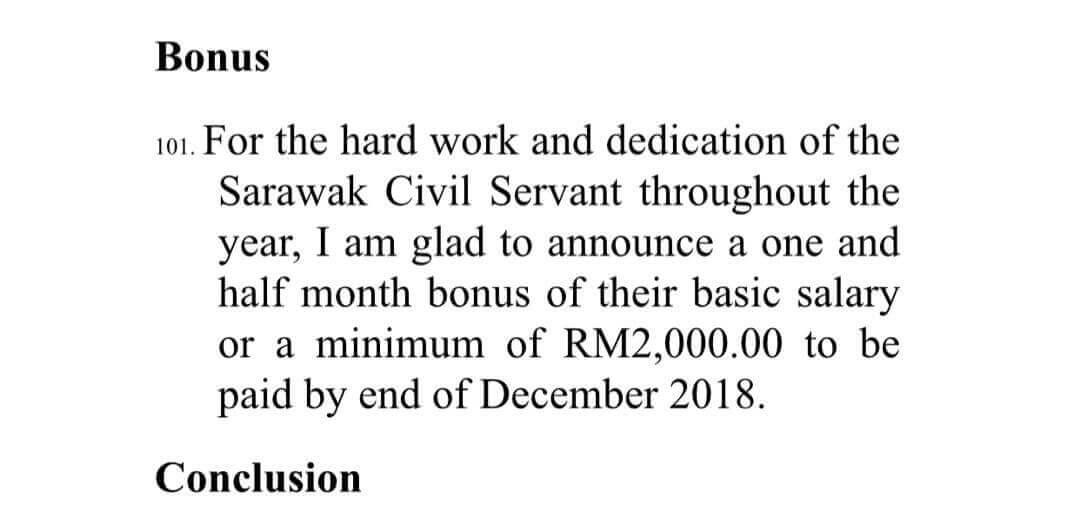Bonus Satu Bulan Setengah Gaji Untuk Penjawat Awam Sarawak