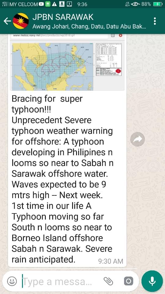 Taufan Usman Dijangka Landa Filipina, Hujan Lebat Di Sabah dan Sarawak