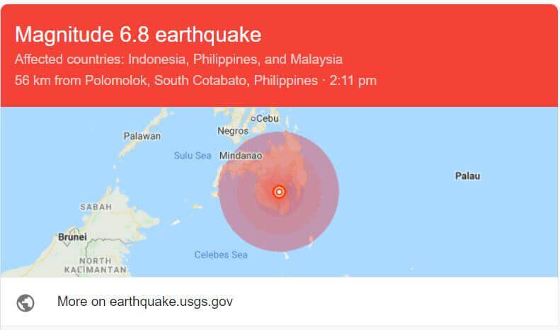 Gempa Bumi 6.8 Skala Richter Kejutkan Kepulauan Mindanao Filipina