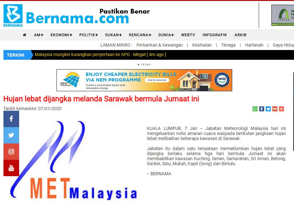 Hujan Lebat Dijangka Melanda Sarawak Bermula Esok Hari