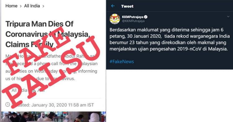 Media Dari India Mula Tabur Fitnah Rakyatnya Mati Di Malaysia Kerana Wuhan Coronavirus