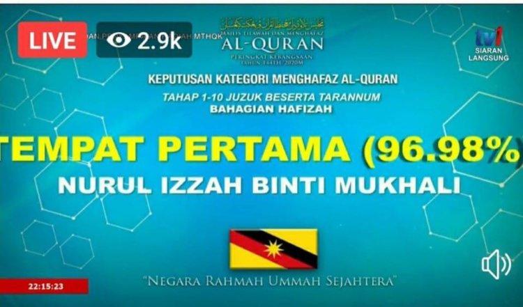 Hafizah Dari Sarawak Juarai Tahap 1 Majlis Tilawah & Menghafaz Al Quran Kebangsaan Tahun 1441H/2020M
