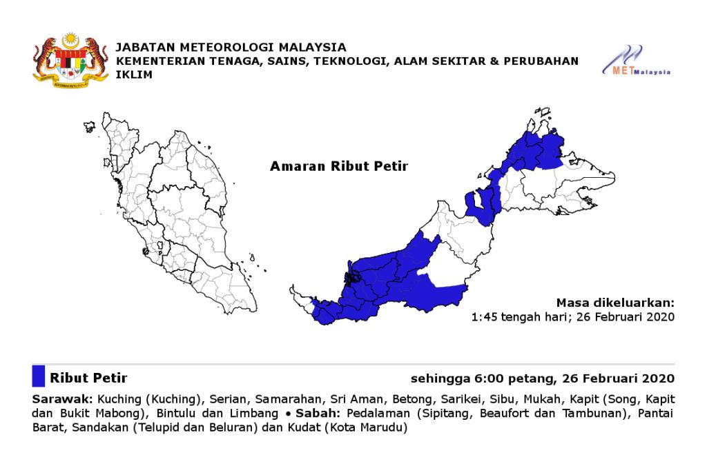 Amaran Ribut Petir Di 17 Buah Tempat Di Sabah Dan Sarawak