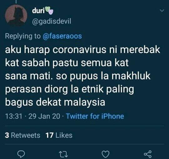 Minta Coronavirus Merebak Di Sabah, Gadis Devil Akhirnya Padam Akaun Twitter