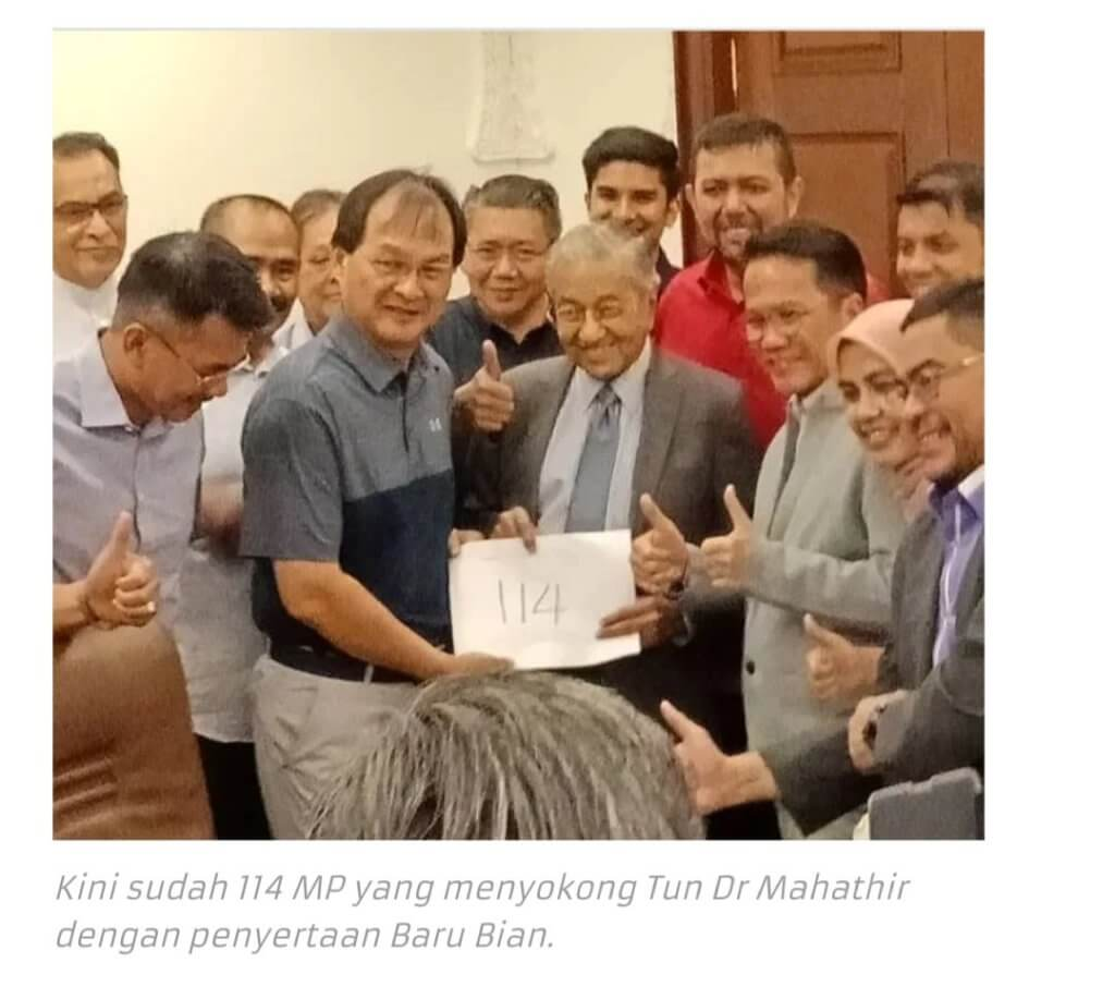 Nampaknya Macam Belum Berakhir, Baru Bian Tangani SD ke 114 Sokong Tun Mahathir