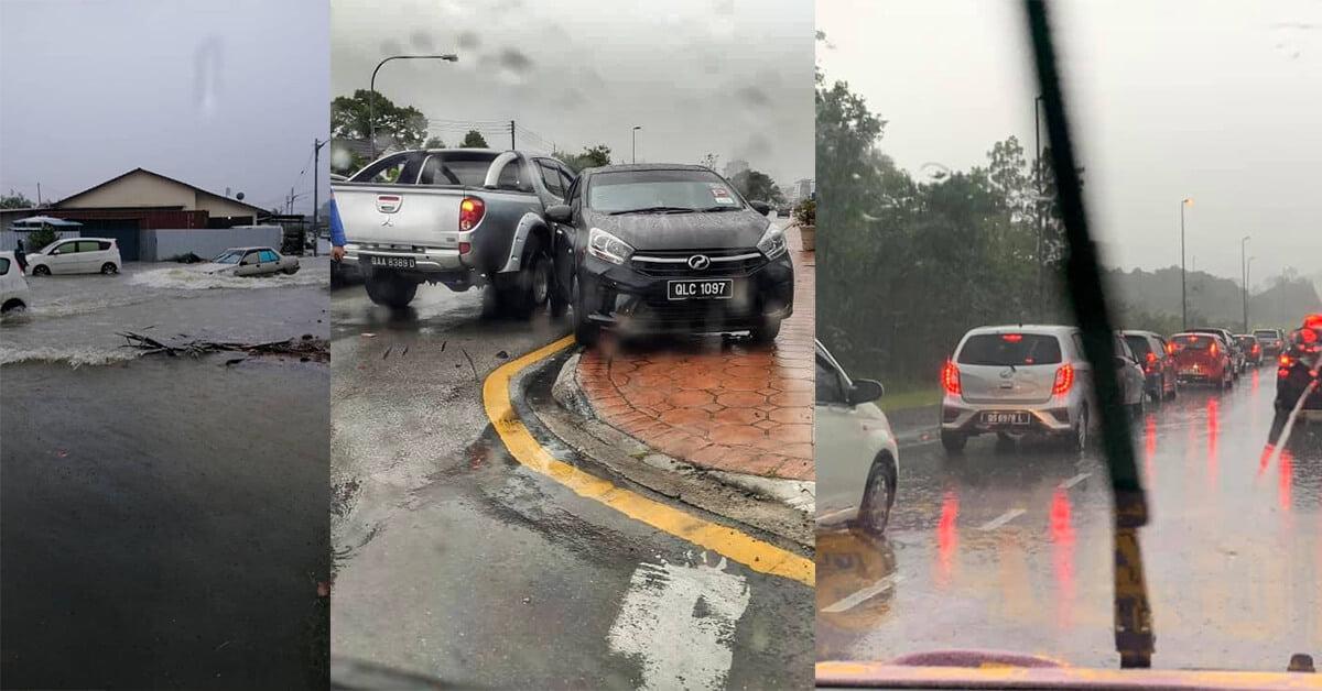Hujan Lebat Akibatkan Banjir Kilat, Kesesakan Dan Beberapa Kemalangan Di Sekitar Kuching