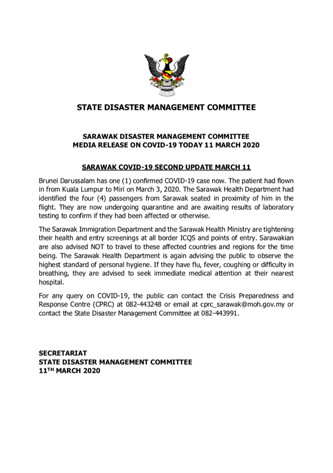 Malaysia Catat 20 Kes Terbaharu COVID-19, 4 Kontak Rapat Kes COVID-19 Brunei Di Sarawak Dikuarantin