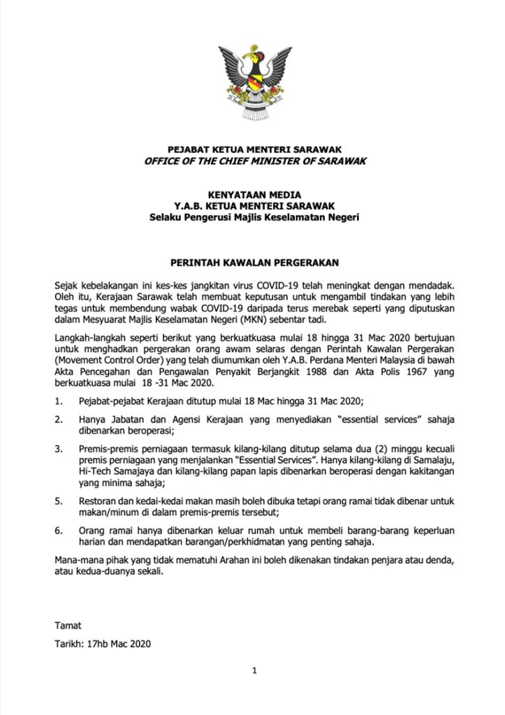 Kerajaan Sarawak Umum Individu Langgar Perintah Kawalan Pergerakan Berdepan Penjara