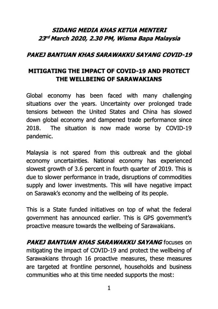 Sarawak Umum Pakej Sarawakku Sayang, Bantuan RM 1,500 Kepada Golongan B40