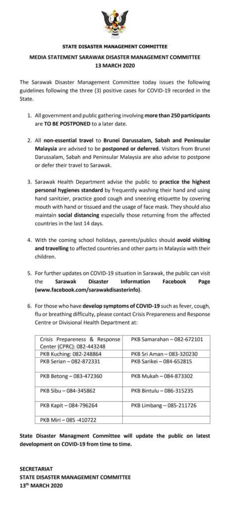Kerajaan Sarawak Arah Acara Melebihi 250 Orang Ditangguh