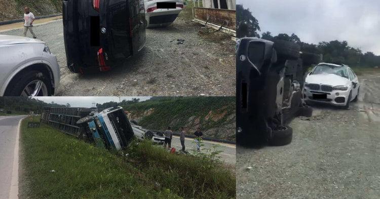 BMW 'Cedera Parah', Trailer Bawa Kereta Mewah Kemalangan Di Jalan Pan Borneo