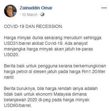 Krisis COVID-19 : Otai Ini Berkongsi Pendapat Bagaimana Menghadapi Krisis Ekonomi