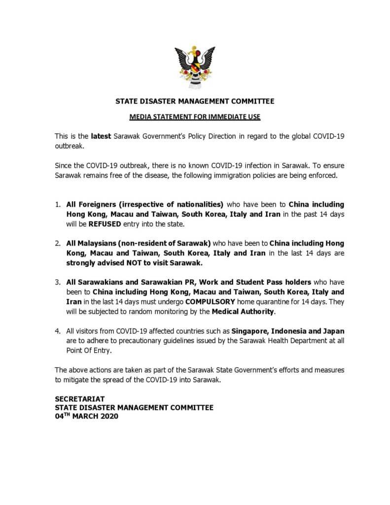Sarawak Umum 4 Lagi Langkah Utama Untuk Mengekang Penyebaran COVID-19