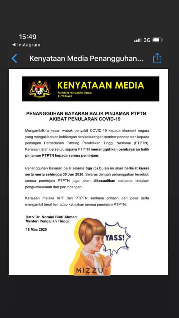 KPT Umum Pembayaran PTPTN Ditangguhkan Untuk 3 Bulan