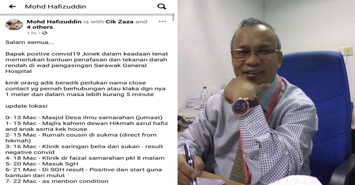 Bapa Lelaki Ini Sah Positif COVID-19, Rayu Close Contact Di Kuching Samarahan Jalani Saringan
