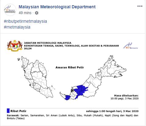 Amaran Ribut Petir Di 7 Buah Kawasan Di Sarawak Hari Ini