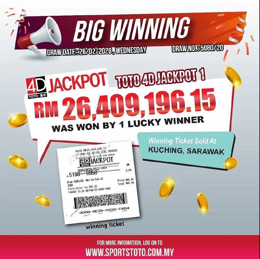 Penjaja Makanan Dari Sarawak Menang Jackpot Sports Toto Bernilai RM26.4 Juta