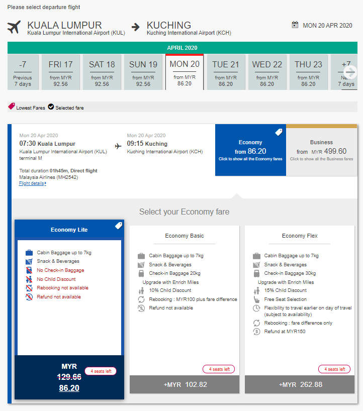 Malaysia Airlines Tawar Tiket Serendah RM86.20 Ke Sarawak, RM122 Ke Sabah