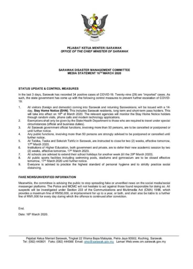 14 Kes Terbaru COVID19 Di Sarawak, Notis 14 Hari Stay Home Notice Untuk Semua Yang Masuk