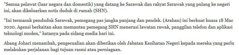 COVID-19 : Netizen Keliru Maksud 'Stay Home Notice' dan 'Exemption' Dari Kerajaan Sarawak