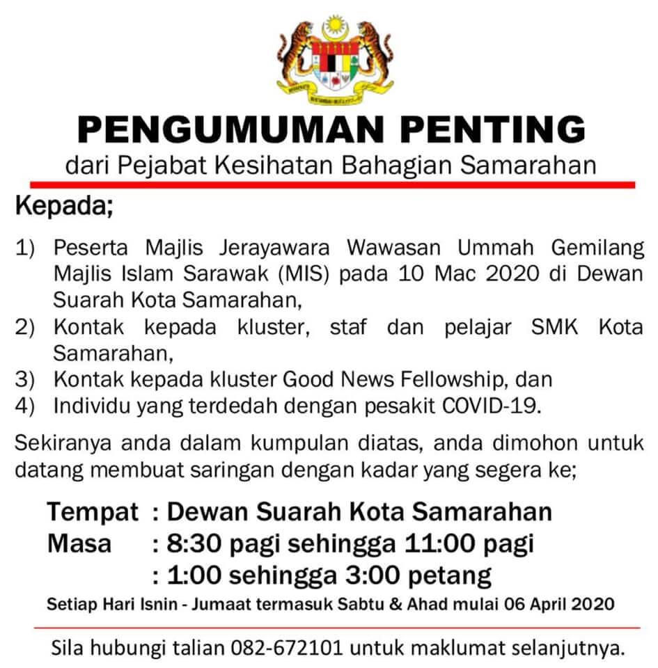 Ketahui 2 Daripada 5 Kluster Terbesar COVID-19 Malaysia Yang Berpusat Di Kuching