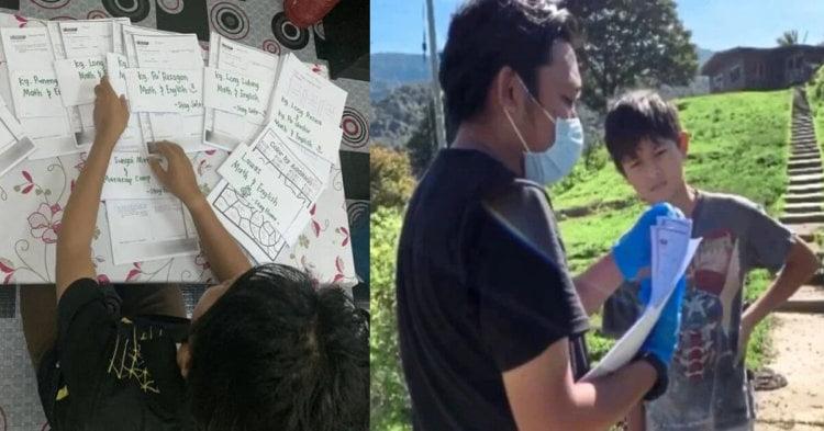 Berjalan Selama 6 Jam, Cikgu Ini Lawat Para Pelajar Di Kampung Untuk Mengedar Kerja Rumah Sekolah