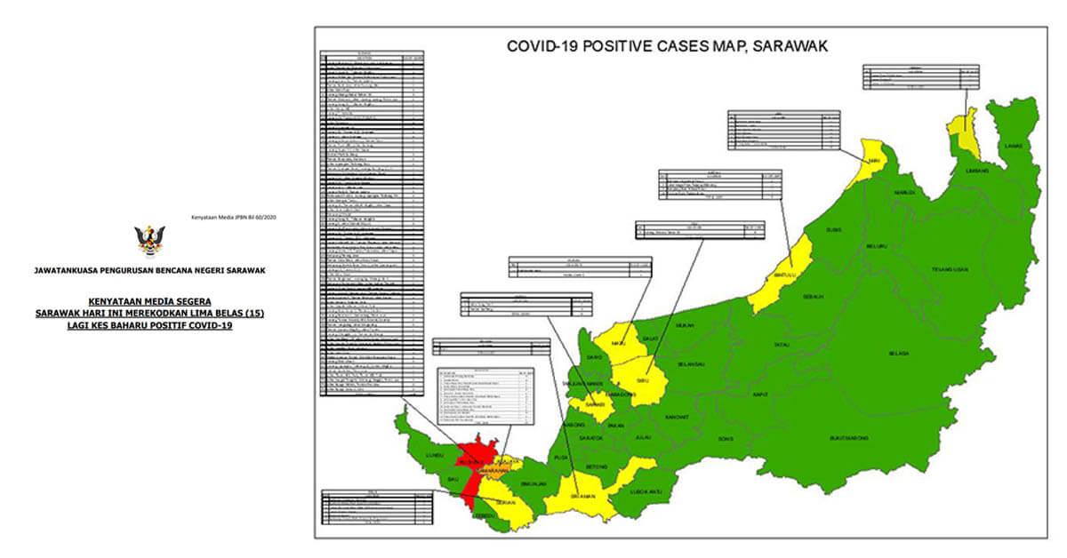 Terkini : Sarawak Catat 15 Kes Positif COVID19, 288 Keseluruhan Setakat Ini