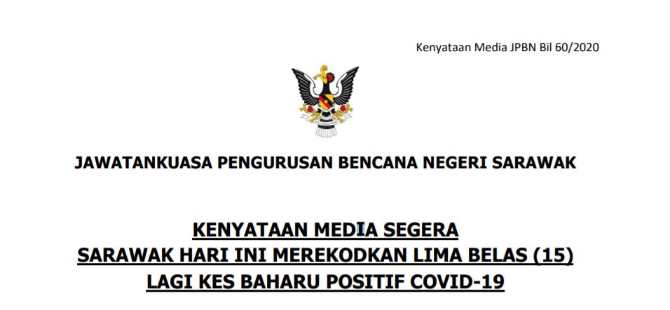 Terkini : Sarawak Catat 15 Kes Baharu Positif COVID19, 288 Keseluruhan Setakat Ini