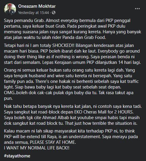 """""""PKP Boleh Dah Ibarat Ke Laut,"""" Pemandu Grab Terkilan Melihat Jalan Raya Sesak Semasa PKP Fasa Ketiga"""