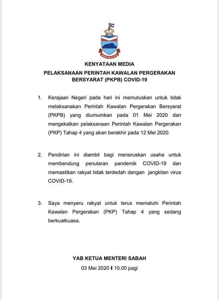 Turut Utamakan Rakyat, Sabah Kekal PKP Sehingga 12 Mei 2020