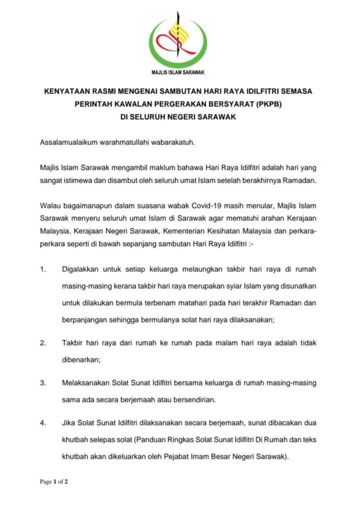 Dilarang Ziarah Kubur, Ini Perkara Yang Dituntut Untuk Raya Di Sarawak Tahun Ini