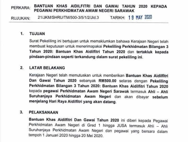 Bantuan Hari Raya Dan Hari Gawai RM500 Untuk Penjawat Awam Sarawak