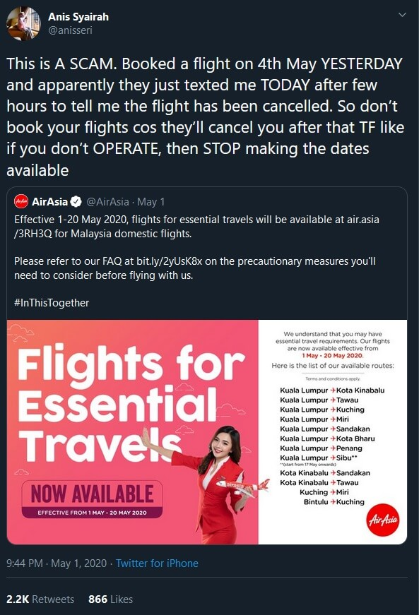 Batal Tak Sampai 24 Jam Lepas Beli, Gadis Ini Dakwa Tiket AirAsia 'Scam'
