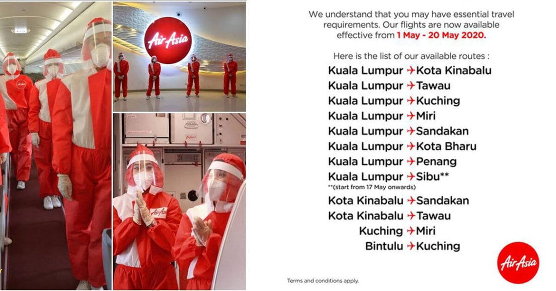 Airasia Terbang Kembali Ke 5 Bandar Di Sabah Sarawak, Penerbangan Domestik Turut Disambung
