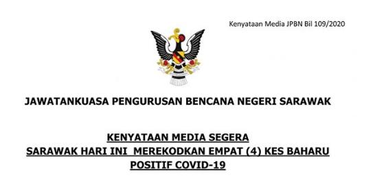 Sarawak Catat 4 Kes Positif COVID-19 Pada Hari Kedua Hari Raya Aidilfitri