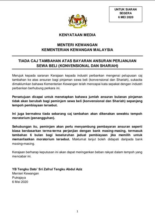 TERKINI : Kadar Faedah Tidak Akan Dikenakan Sepanjang Tempoh 6 Bulan Moratorium