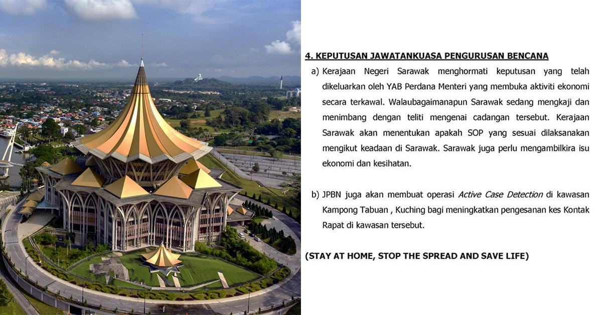 Aktiviti Ekonomi Mula Dibuka 4 Mei 2020? Sarawak Akan Kaji Cadangan Tersebut