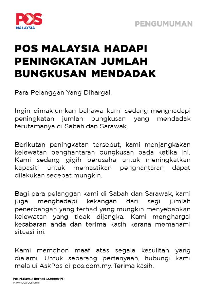 Barang Ke Sabah Sarawak Dijangka Lewat, Pos Malaysia Terima Jumlah Bungkusan Luar Biasa