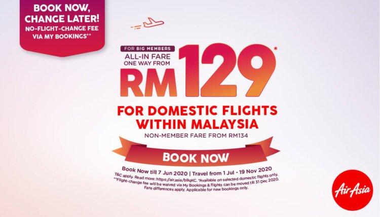 AirAsia Tawar Tiket Serendah RM129 Untuk Penerbangan Domestik Bagi Tujuan Penting