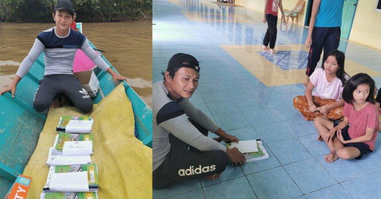 Demi Pelajar Pedalaman, Guru Ini Sanggup Hantar Kerja Sekolah Guna Sampan