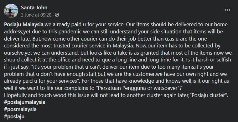 Servis Semakin 'Ke Laut', Pelanggan Luah Kekecewaan Terhadap Pos Laju