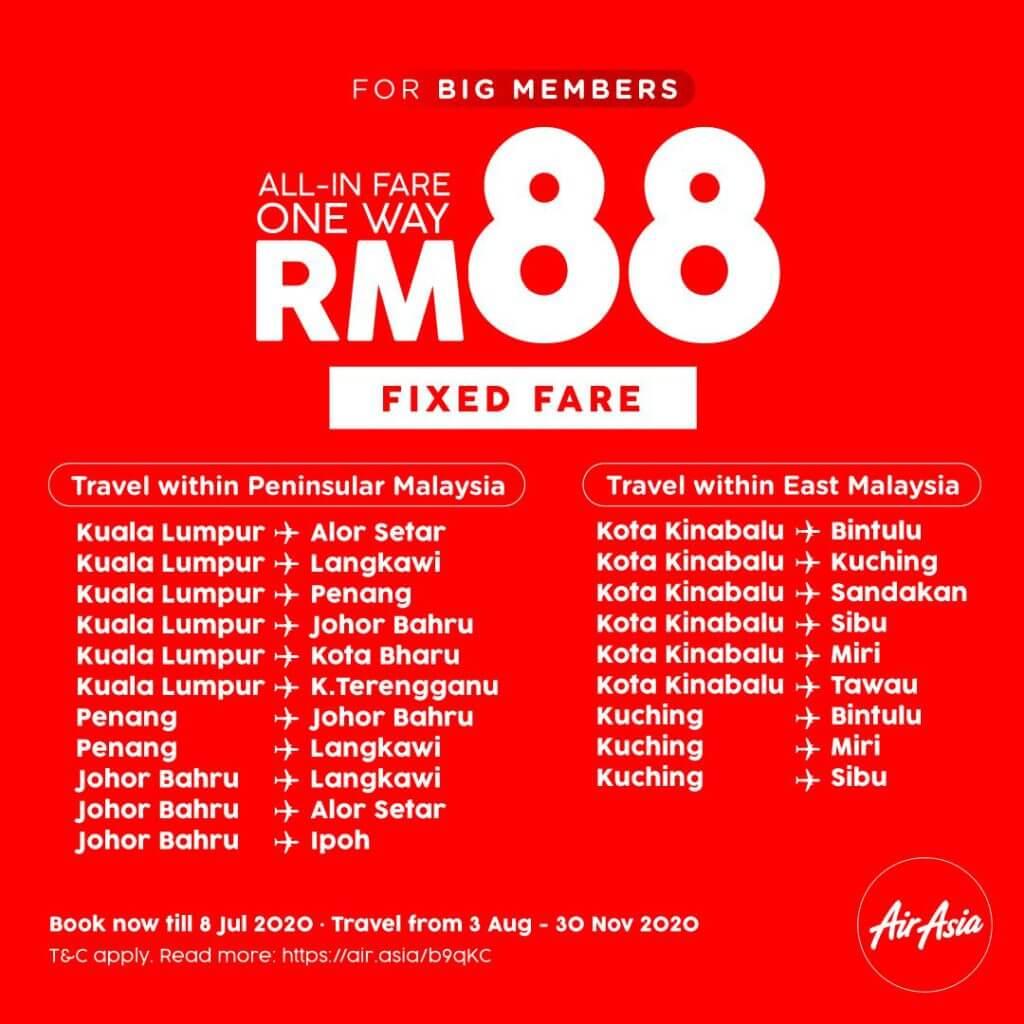 AirAsia Lancarkan Promosi Tambang Tetap Domestik Serendah RM88