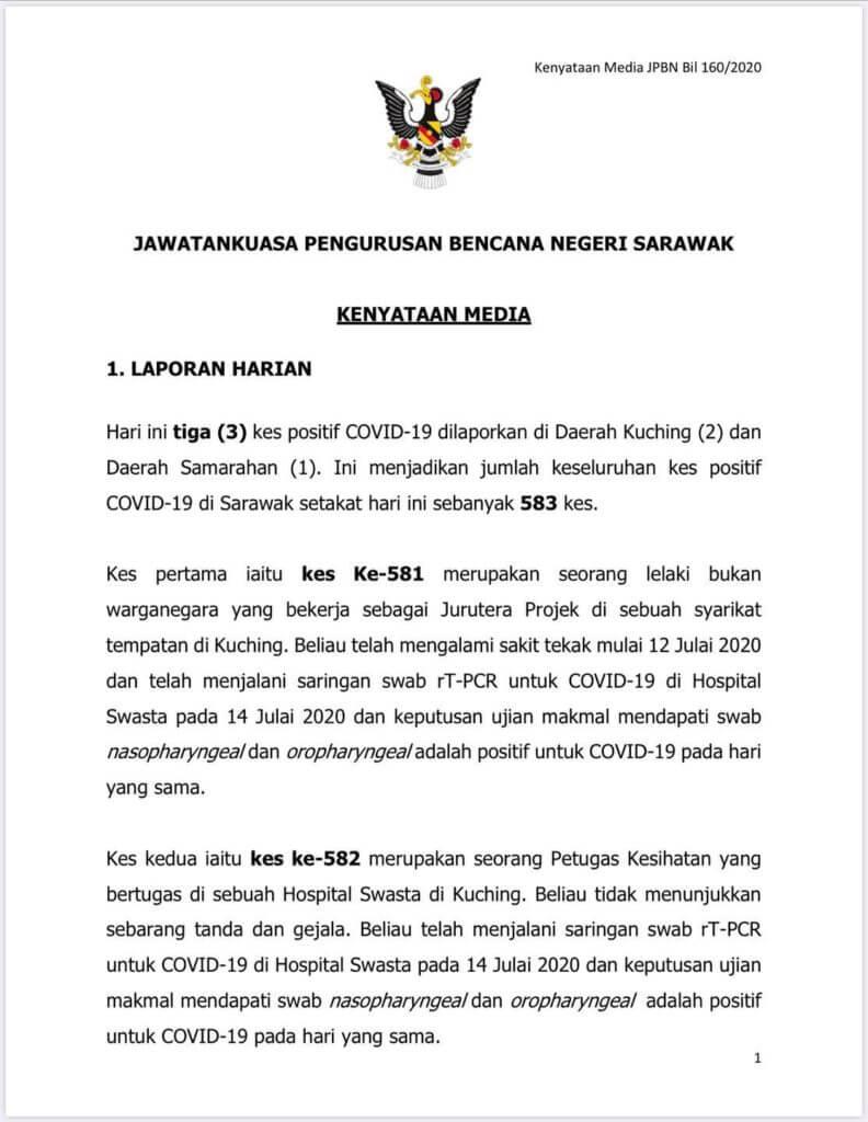 3 Kes Baru Hari Ini Adalah Transmisi Tempatan, Amaran Untuk Rakyat Sarawak Lebih Berhati-Hati