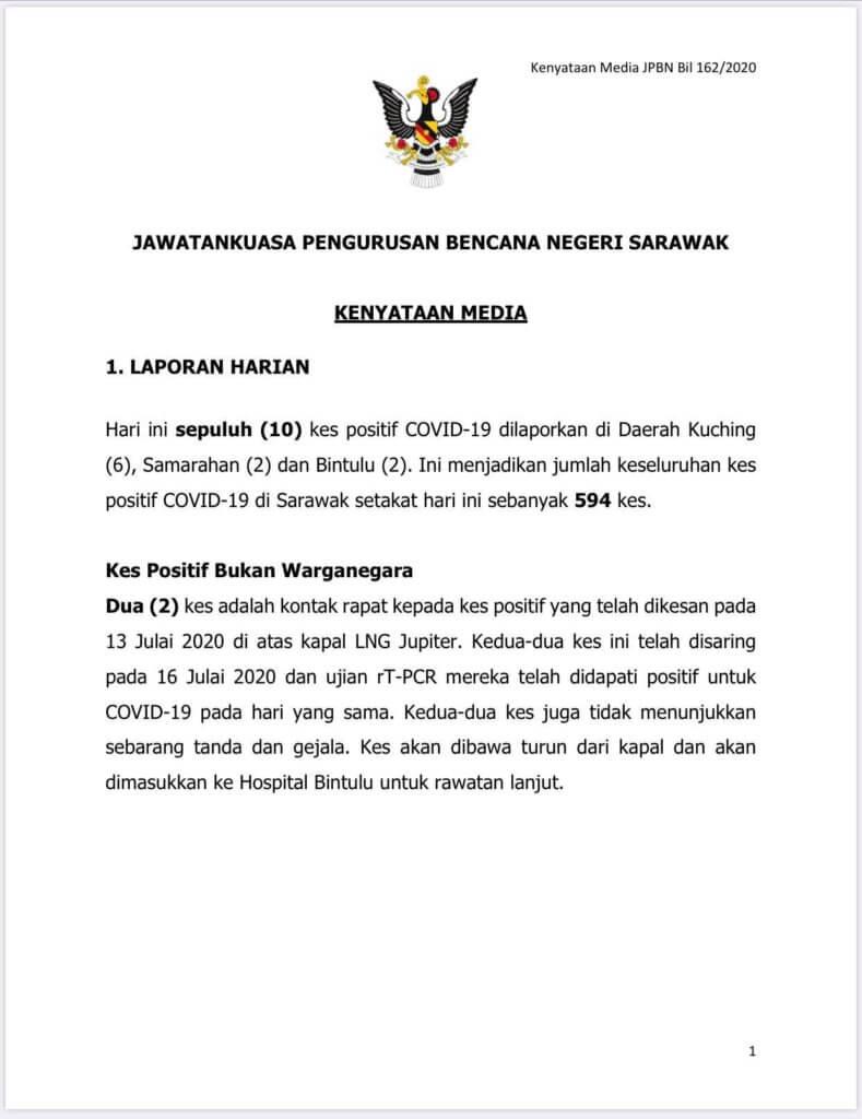 Ibarat Gelombang Kedua, 10 Kes Baru Dikesan Di Sarawak Hari Ini