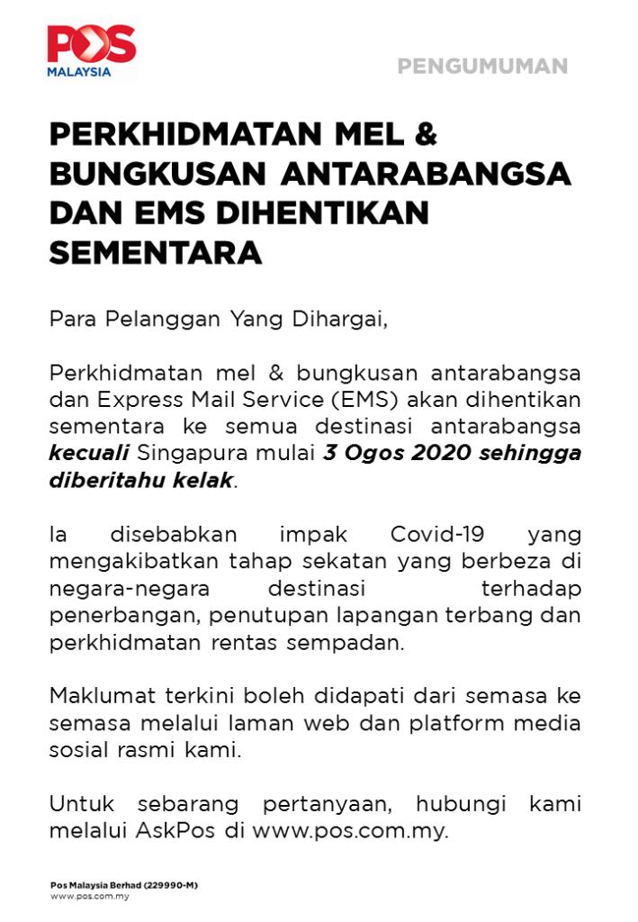 Pos Malaysia Tangguh Sementara Perkhidmatan Mel Dan Bungkusan Antarabangsa