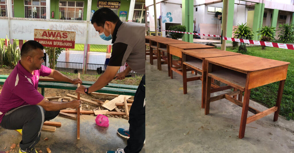 Gigih Hasilkan 80 Meja, Guru Di Sabah Ini Sanggup Bertukang Sendiri Demi Penjarakan Sosial Pelajar