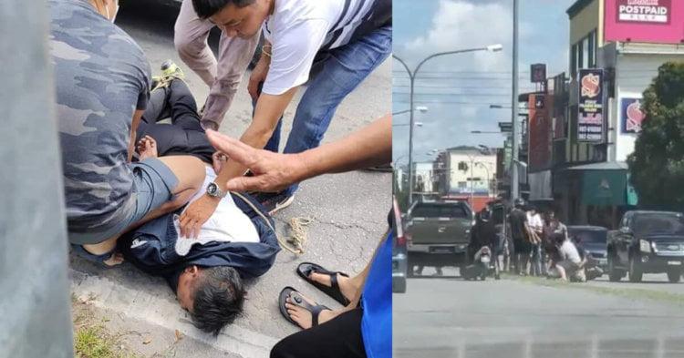 Kantoi Merompak Kedai Emas, Lelaki Ini Dibelasah Oleh Orang Awam Di Batu 7