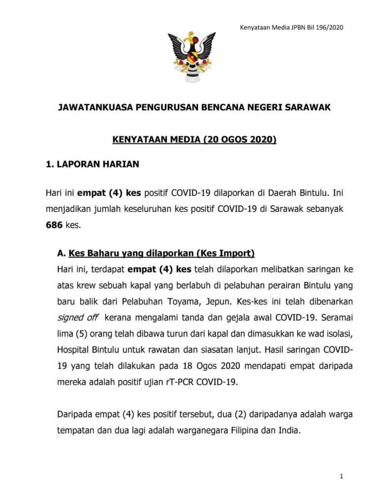 Sarawak Rekod 1 Kluster Baru, Kluster Stutong Tamat Hari Ini