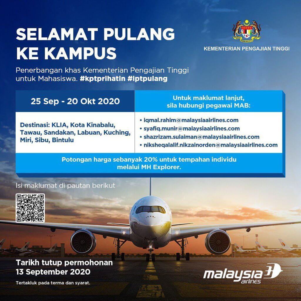 Khas Untuk Pelajar Pulang Ke Kampus, Malaysia Airlines Tawar Harga Tambang Khas